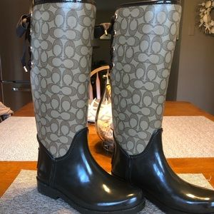 Coach Lace Up Back Rain Boots